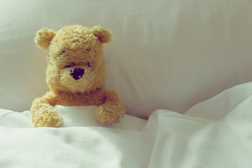 Lonely bear is laying in the bed