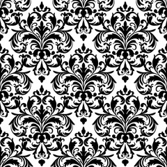 Black and white seamless wallpaper pattern.