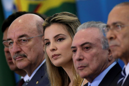 First lady Marcela Temer, looks on during launch ceremony of the Happy Child Program at the Planalto Palace in Brasilia