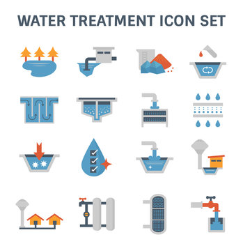 Water treatment system and water filter vector icon set design.