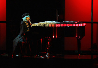 "U.S. singer Lady Gaga performs on the piano during the TV show ""Germany's Next Top Model by Heidi Klum"" in Cologne"