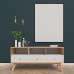 Mock up poster in living room, 3d rendering