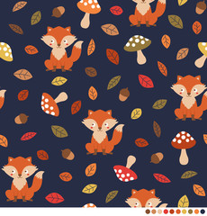 Autumn forest pattern with cute fox, mushroom and leaf illustration