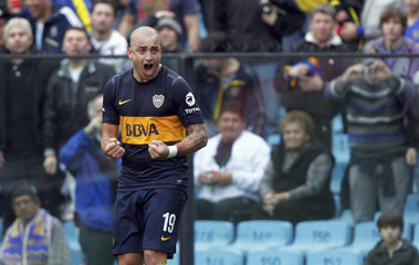 Boca Juniors' Silva celebrates after scoring against All Boys in their Argentine First Division soccer match in Buenos Aires