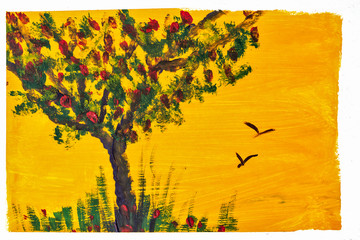 Tree and grass drawing gouache.
