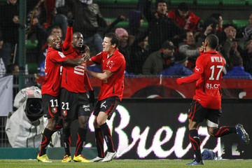 Victor Hugo Montano of Stade Rennes celebrates with team mates after scoring during their French Ligue 1 soccer match against AS Monaco at the Route de Lorient stadium in Rennes