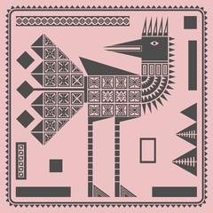 Графическая иллюстрация на розовом фоне с декоративной рамкой и декоративным изображением стоящей птицы. Однотонные тёмные прямоугольники и прямоугольники с узорами располагаются вокруг птицы.
