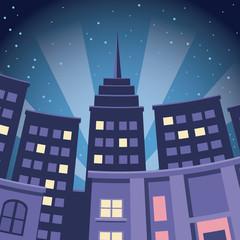 comic city building skyscraper night view vector illustration