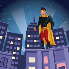 superhero watching over building city night view vector illustration