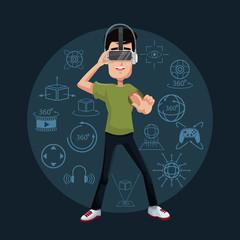 young man playing virtual reality wearing goggle vector illustration