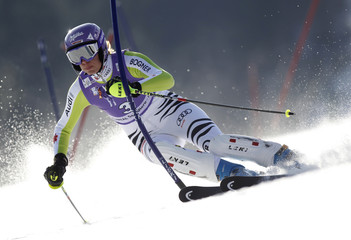 Riesch of Germany clears a gate during the women's Alpine Skiing World Cup slalom in Spindleruv Mlyn