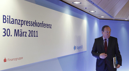 CEO of Bavarian federal bank BayernLB Haeusler arrives for annual news conference in Munich