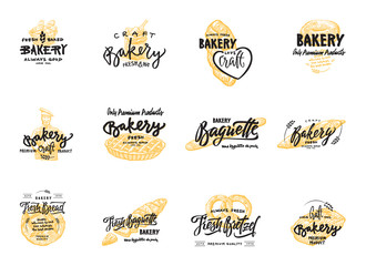 Vintage bakery lettering set. Vector color hand drawn vintage engraving illustration.