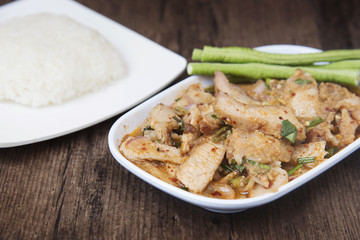 "Thai dish called ""Nam Tok Moo"", Roasted pork and basil mixed"