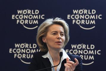 German Labour Minister von der Leyen attends a session at the World Economic Forum (WEF) in Davos
