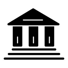 bank vector icon. Black and white finance illustration. Solid linear icon.