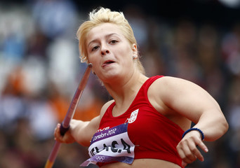 Serbia's Tatjana Jelaca competes in the women's javelin throw qualification at the London 2012 Olympic Games