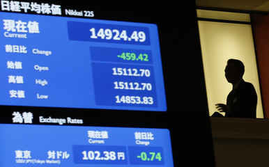 Electronic board shows the Nikkei share average and the Japanese yen's exchange rate against the U.S. dollar at the TSE in Tokyo