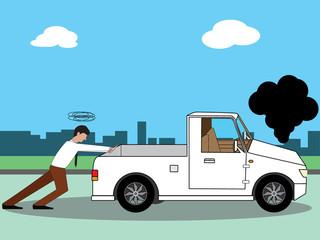 Business man pushing his broken pick-up