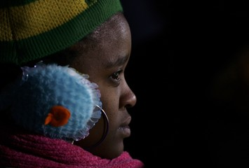 South Africa fan reacts after their team conceded a goal against Uruguay during the 2010 World Cup Group A soccer match at Loftus Versfeld stadium in Pretoria