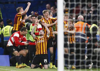 Bradford City's Yeates celebrates after scoring against Chelsea during their FA Cup fourth round soccer match at Stamford Bridge in London