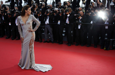 """Actress Eva Longoria poses on the red carpet as she arrives for the screening of the animated film """"Inside Out"""" out of competition at the 68th Cannes Film Festival in Cannes"""