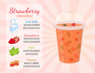 Smoothie recipe - strawberries, detox, milk, healthy drinks. Cartoon flat style