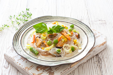 Rice noodles with vegetables and seafood