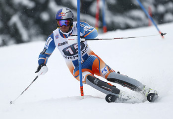 Svindal of Norway clears a gate during the slalom event of the men's World Cup super combined race in Wengen