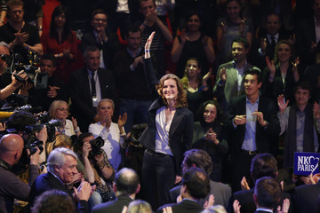 Nathalie Kosciusko-Morizet, conservative UMP political party candidate for the mayoral election in Paris, arrives at a campaign rally at the Cirque d'Hiver in Paris