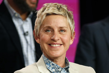 "Executive Producer DeGeneres speaks about the NBC television show ""One Big Happy"" during the TCA presentations in Pasadena, California"