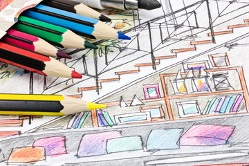 colored graphical sketch of living room interior with color pencils