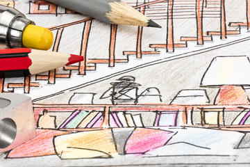 colored graphical sketch for living room interior idea with drawing tools