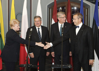 President Grybauskaite of Lithuania shakes hands with President Ilves of Estonia during a news conference in Riga