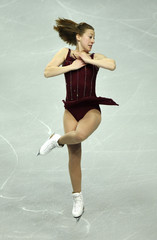Clara Peters of Ireland performs her women's preliminary round free skating routine at the European Figure Skating Championships at the Motorpoint Arena in Sheffield