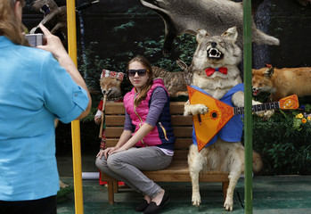 Visitors take a photo at a stuffed wolf during an international agricultural exhibition in the outskirts of Minsk