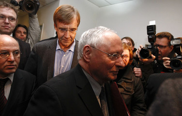 Co party leader Lafontaine, party fellows Bartsch and Gysi arrive to a party leaders meeting of the left-wing party Die Linke in Berlin