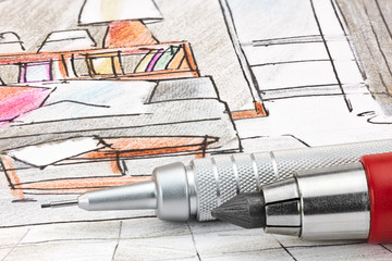 designers colored sketch of modern room interior with mechanical pencils