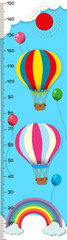 Measuring height scales on paper with balloons in sky