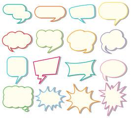 Speech bubble templates on white background