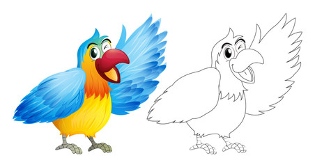 Wall Murals Birds, bees Doodle animal for macaw parrot