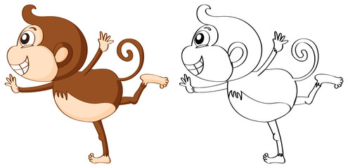 Outline animal for cute monkey