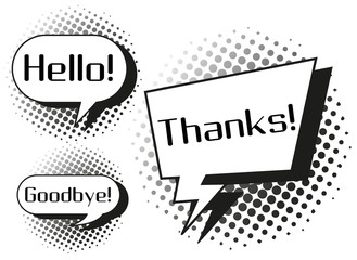 Expression words on speech bubbles