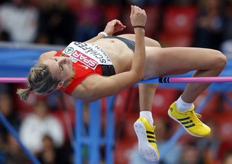 Schafer of Germany competes in the high jump event of women's heptathlon during the European Athletics Championships at the Letzigrund Stadium in Zurich