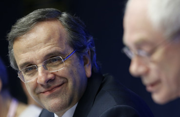 Greece's Prime Minister Samaras and European Council President Van Rompuy attend a news conference after a Tripartite Social Summit ahead of a European Union leaders summit in Brussels