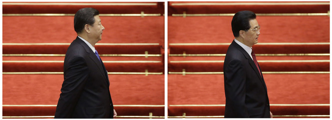 A combination picture of China's President Hu and China's Communist Party Chief Xi arriving before the opening ceremony of the National People's Congress at the Great Hall of the People in Beijing