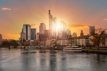 Cityscape image of Frankfurt am Main during sunset.