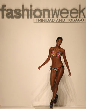 A model presents a creation by Berns on the night of Cosquelle Couture during Fashion Week Trinidad and Tobago in Port of Spain