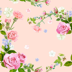 Vector square floral seamless pattern with pink rose, carnation, blue flowers forget-me-nots, spring blossom, buds, green stems, leaves on pink background, digital draw illustration, vintage, vector