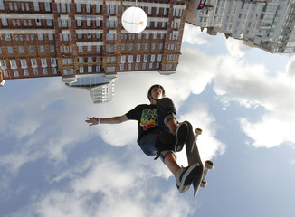 Skateboarder Alex Halford performs during the Tony Hawk and Friends European Skateboarding Tour in Brighton southern England